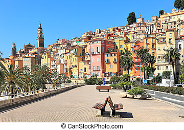 Promenade and town of Menton in France. - View of promenade...