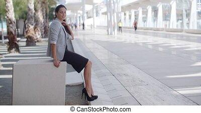 promenade, banc, élégant, séance femme