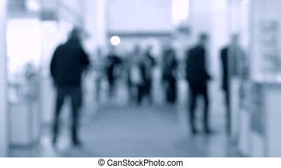 promenade, centre commercial, gens, brouillé, exposition, marche, associé, fond