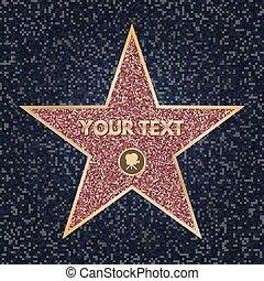 promenade, clair, vidéo, scintillement, texture., fame., personnel, concept., acteur, appareil photo, granit, accomplissements, étoile, symbole., illustration, sombre, célèbre, boulevard., reussite, célébrité, star., vecteur