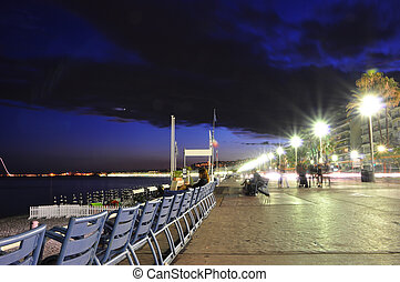 Promenade des Anglais at night