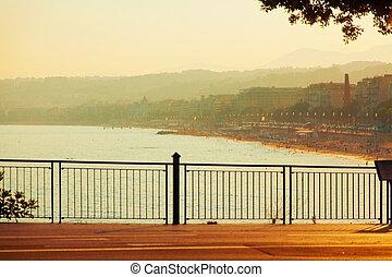 Promenade des Anglais at sunset, Nice