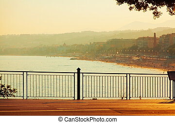Promenade des Anglais at sunset, Nice