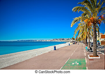 Promenade des Anglais in Nice, France.