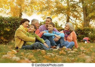 promenade, famille, grand