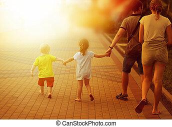 promenade, famille, parc, photo, heureux
