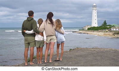promenade, famille, quatre, phare