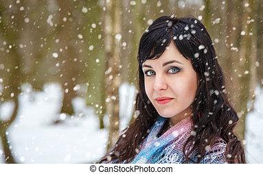 promenade, femme, parc, hiver, jeune