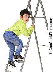 promenade haut, échelle, connaissance, enfant