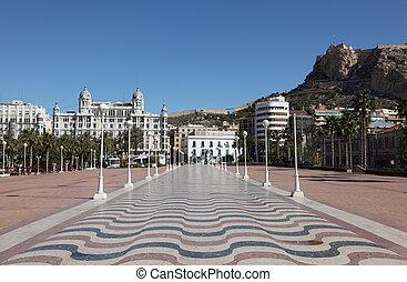 promenade, in, alicante, catalonia, spanien