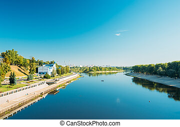 Promenade Near Sozh River In City Park At Summer Sunny Day In Gomel