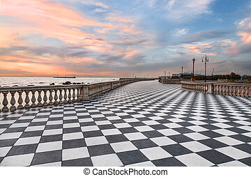 Promenade of Livorno, Tuscany, Italye - Mascagni Terrace,...