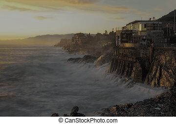Promenade of Nervi, on the east coast of Genoa