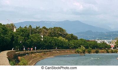 Promenade of the resort town located near the mountain range