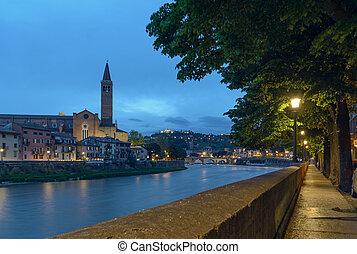 promenade of Verona in the evening