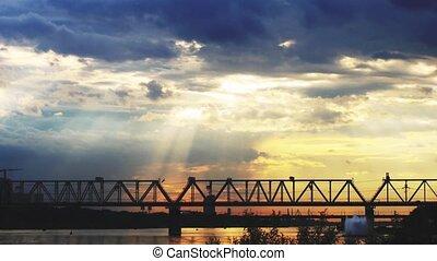 Promenade on beautiful sunset background at the sea and bridge. 3840x2160