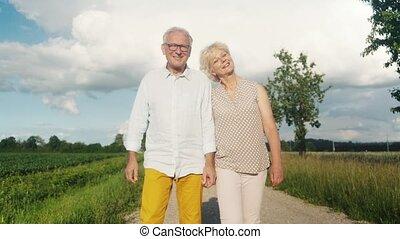 promenade, paysage, avoir, été, personne agee, épouse, mari