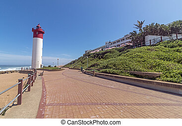 promenade, phare, pavé, beachfront, umhlanga