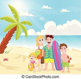 promenade, plage, famille, heureux