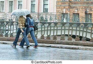 promenade, pluie