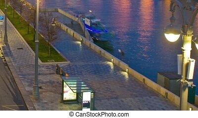 promenade, rivière, russie, boat., moscou