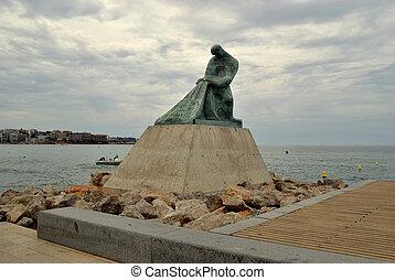 promenade, salou, statue