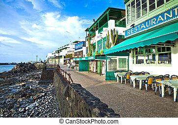 promenade, von, landschaftlich, playa blanca