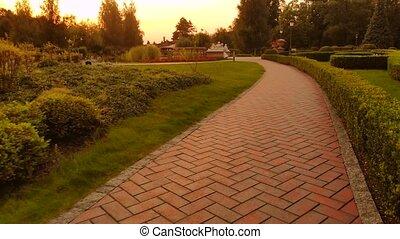 promenade, walley, park., pavé