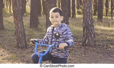 promenades, cycliste, gosse, bike., heureux, montagne, forêt
