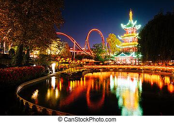 promenades, jardins, denmark., japonaise, lac, refléter, copenhague, tour, nuit, tivoli