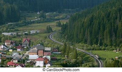 promenades, par, locomotive, forêt