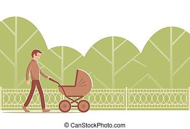 promenades, park., jeune homme, landau