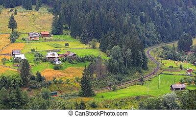 promenades, train, par, th, village