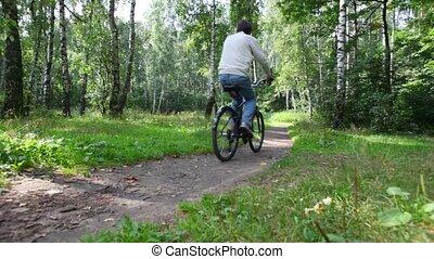 promenades, vélo, forêt, homme