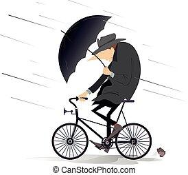 promenades, vélo, illustration, jour venteux, homme, ...