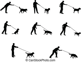 promener chien, silhouettes