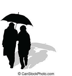 promenera koppla, med, paraply