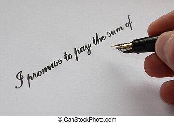 promesa, para pagar