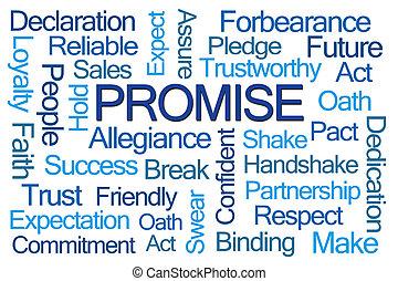 promesse, mot, nuage