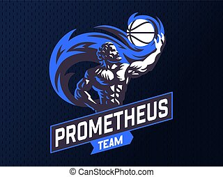 Prometheus and a sports ball. Sports emblem.