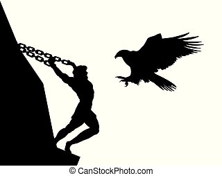 Prometheus god eagle silhouette ancient mythology fantasy