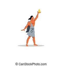 Prometheus sign. In Greek mythology, titan, defender of...