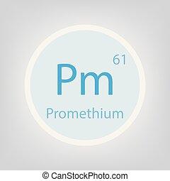 Promethium Pm chemical element icon- vector illustration