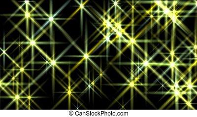 promień, dyskoteka, migotać, żółte światło, gwiazdy