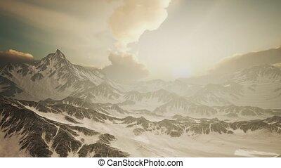 promienie, góry, szczyty, zachód słońca