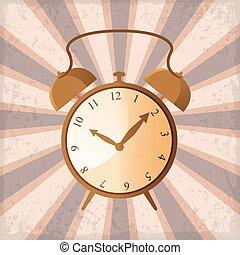 promienie, grunge, zegar, słońce, alarm, retro, tło