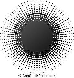 promieniowy, halftone, element, odizolowany, na białym, tło.