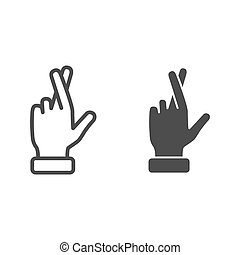 Promise gesture line and solid icon, gestures concept, Hand with crossed fingers sign on white background, Gesture good luck or fortune icon in outline style for mobile, web design. Vector graphics.