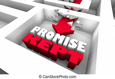 Promise Kept Arrow Maze Follow Through 3d Illustration