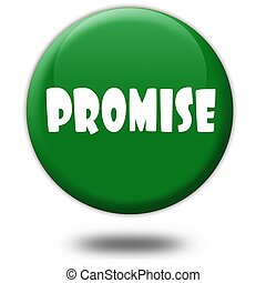 PROMISE on green 3d button.